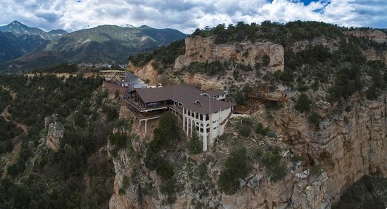 Manitou Springs, CO: Aerial Photo of Cave of the Winds Mountain Park