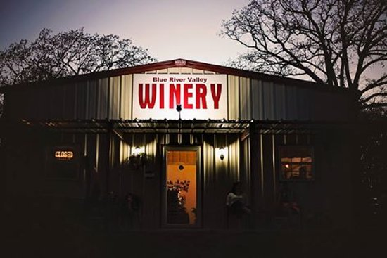 Caddo, OK: Blue River Valley Winery at Night