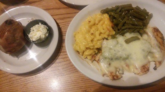 Gallup, NM: Jack green chili chicken, baked sweet pot, green beans, mac and cheese