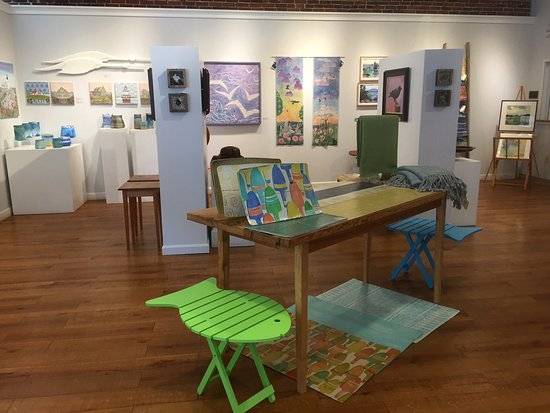 Rockland, ME: Inside the Gallery in the Spring.