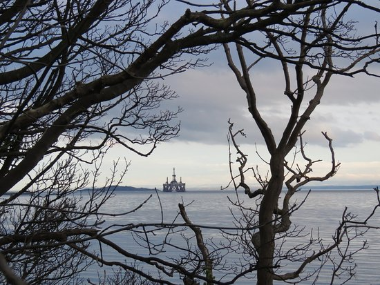 Aberdour, UK: view to the oil rig