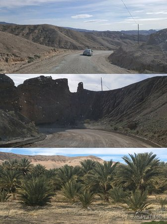 Tecopa, CA: Partially paved road that after several miles leads to the date tree oasis (bottom)