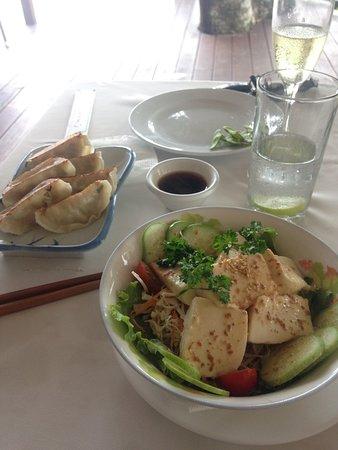Kanpai: Tofu salad and pork guyoza