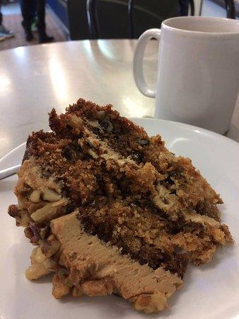 Busy Teapot: Walnut cake and tea.