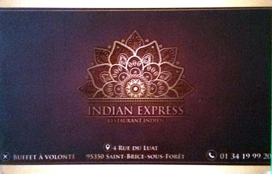 Indian Express Restaurant Carte Visite Recto