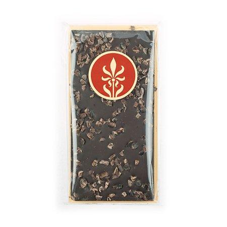 Los Gatos, CA: 70% dark chocolate bar with cocoa nibs.