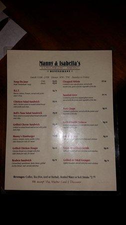 Fairfield Glade, TN: Manny & Isabella's lunch menu Feb 2017