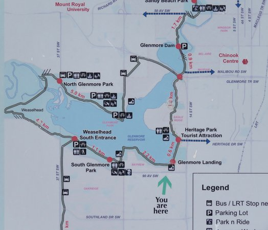 Map of the Reservoir showing trails and access points Picture of