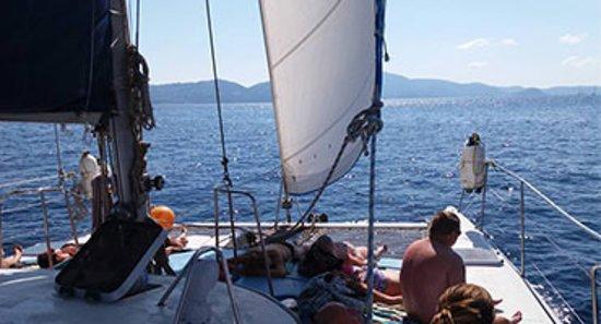 Skiathos Town, Greece: Evdora Catamaran Yaght in Skiathos Sailing