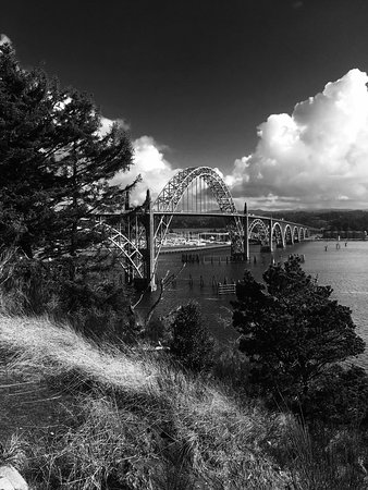 A beautiful view of the bridge from the Yaquina Bay Lighthouse.