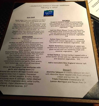Lambertville, Nueva Jersey: Special Menu