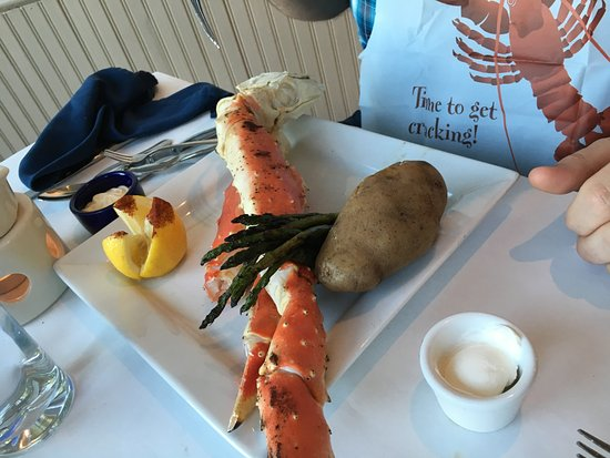 Harbor Fish Market and Grille: King crab legs with baked potato and asparagus
