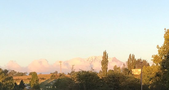 Raetihi, Neuseeland: The view from the kitchen/deck to Mt Ruapehu.