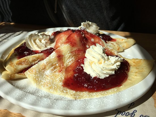 DeForest, WI: Lovely Norwegian pancakes with lingonberries