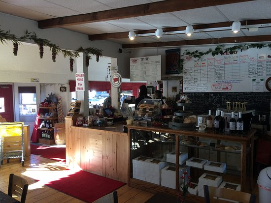 Colorado Cherry Company: Main counter with the pie board. Pies in case.