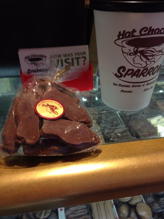 Hot Chocolate Sparrow: Chocolate Covered Swedish Fish & White Hot Chocolate