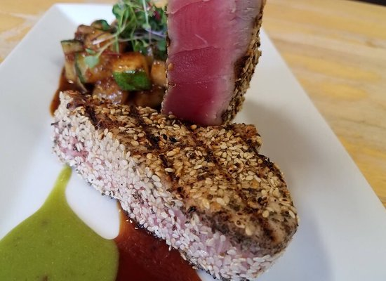 Columbia, NJ: Amazing Ahi Tuna, crusted with white sesame zattar, served with teriyaki glaze- zucchini, yellow