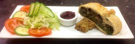 Dedham, UK: Spinach & Mushroom Wellington served on a bed of Sage & Onion
