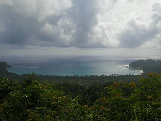 Tarimbang Beach from a hill on the route to the beach