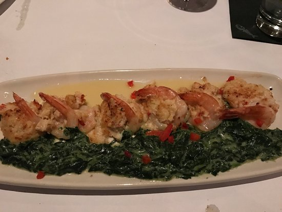 Camp Hill, PA: lobster stuffed jumbo shrimp with spinach
