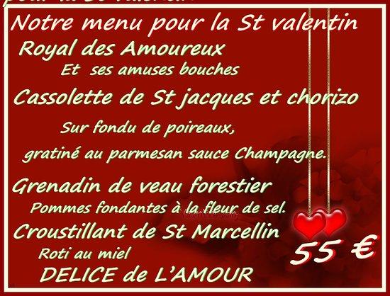 Menu St Valentin Picture Of Restaurant Les Baux Cagnes Sur Mer Tripadvisor