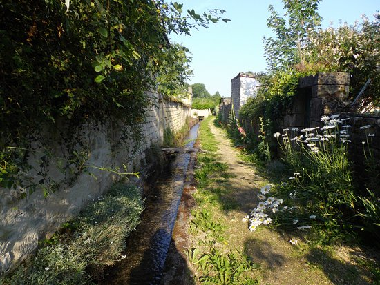 Notre balade à Stenay : Joli sentier longeant un ruisseau près du petit port