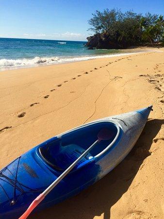 Kayaking to secluded uninhabited island