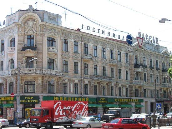 view of the hotel from the street Preobrajenskaya