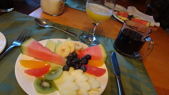 Cedar Springs Bed and Breakfast Lodge : Fresh fruit begins every breakfast.