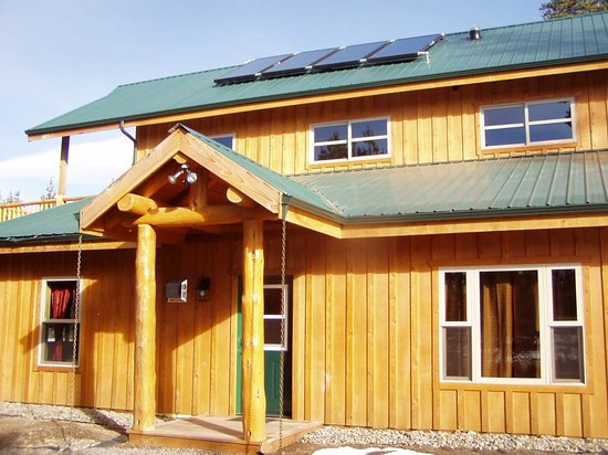 "DiamondStone Guest Lodges: Homestead ""Fall Suite"" entrance to King BR unit. Solar assist hot water & radiant floors."