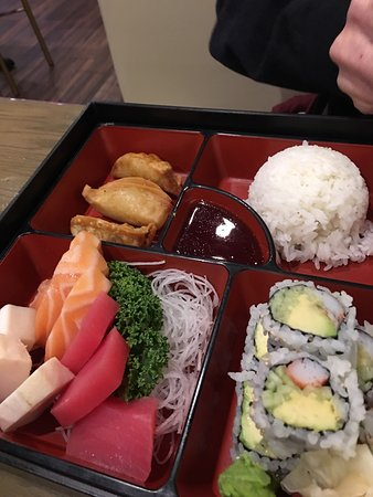 New Windsor, Estado de Nueva York: Sashimi and chicken bento boxes