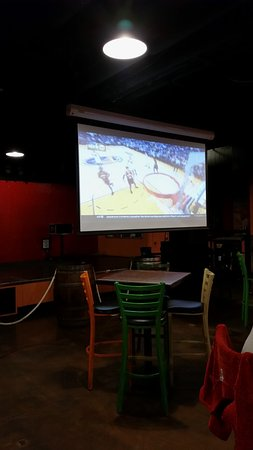 Cabo Wabo: Projection TV is a little fuzzy but still nice to watch sports