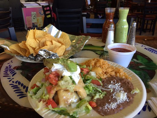 La Tienda Latina: Chimichanga plate with chips & salsa