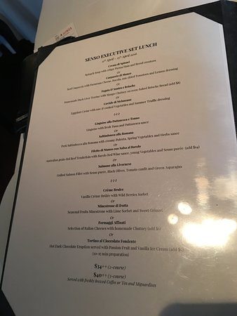Set Lunch menu - Picture of Senso Ristorante and Bar