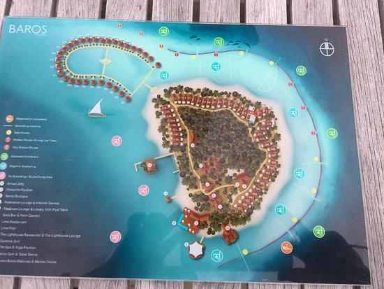Baros Island: ホテルの説明図
