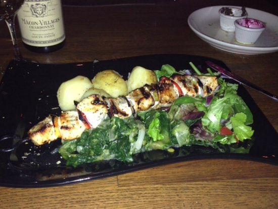 Fairfield, NJ : Sword fish kabob over slow cooked vegetables lemon potatoes with salad.