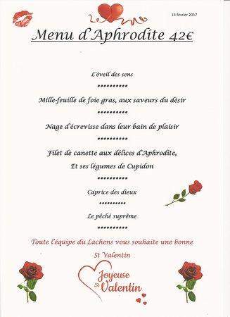 Hotel Du Lachens: menu de la St valentin mardi 14 février 2017