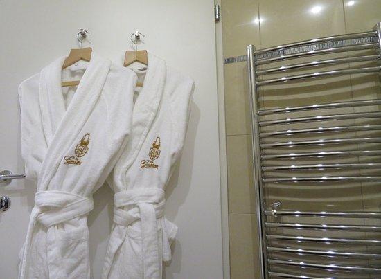 Grand Hotel Bohemia: Robes and towel warmer