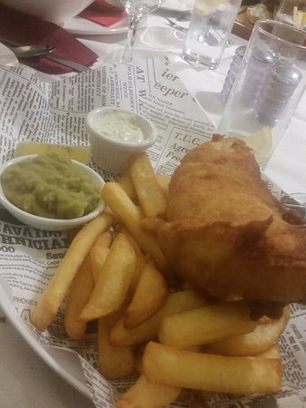 "JS Restaurant: haddock and chips, served on ""newspaper"""
