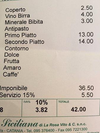 Ristorante La Siciliana: servizio 15%?