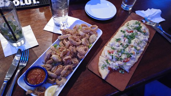Catch 31 Seafood Flatbread And Calamaris Too Oily But Good