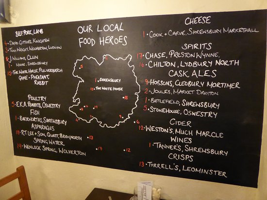 Pulverbatch, UK: Locally sourced food - great to see!