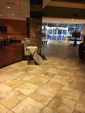 Trash can set up for breakfast in lobby