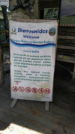 Province of Puntarenas, Costa Rica: Marino Park entrance at Playa Uvita
