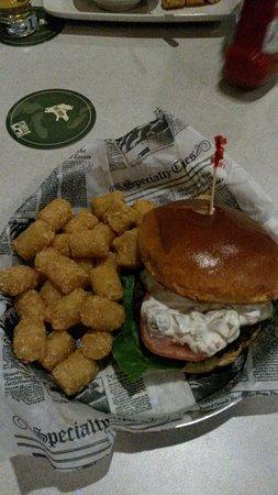 Dorr, MI: Olive Burger and Tots! Brioche bun dressed up the bar burger nicely!