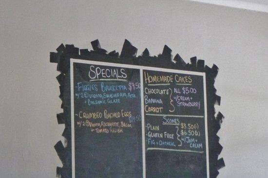 Engadine, Australia: Blackboard menu