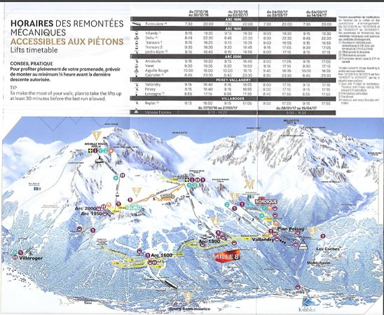 Radisson Blu Resort, Arc 1950: Walkers map for Les Arcs
