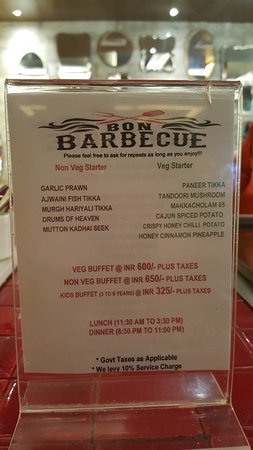 Menu Picture Of Bon Barbecue Restaurant Agra Tripadvisor
