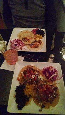 Belfast, ME: Bon Mi tacos (far plate) Chicken tostadas (near plate)