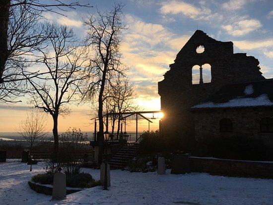 Geisenheim, Tyskland: Ein Blick auf die Burgruine